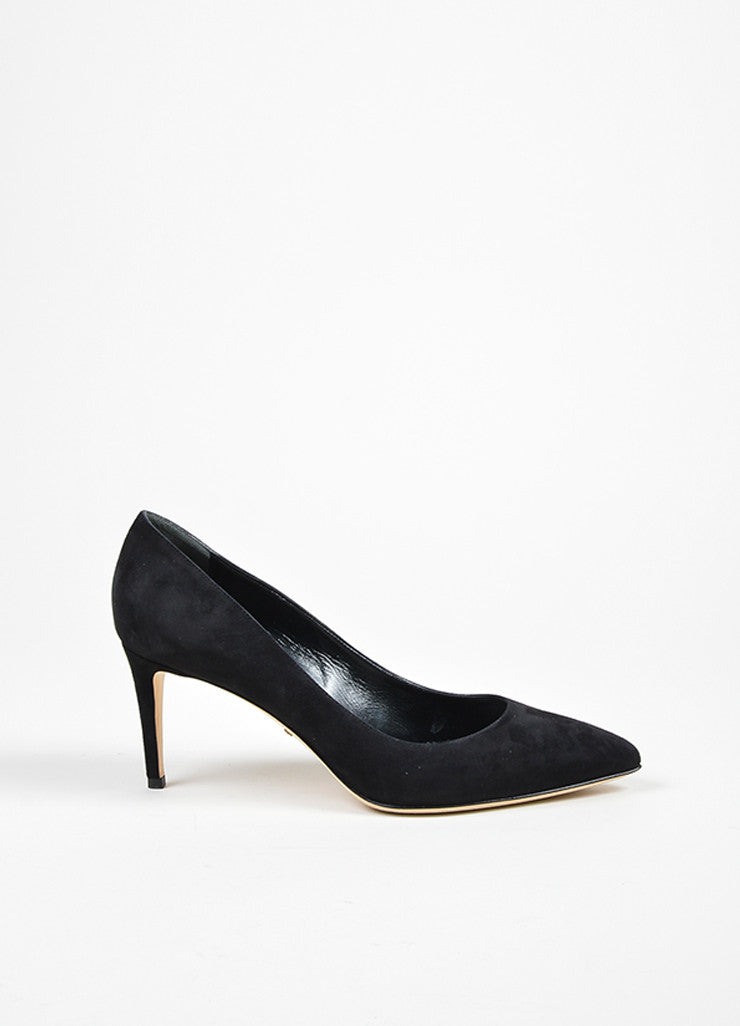 "Black Gucci Suede Pointed Toe ""Brooke 75mm"" Pumps Side"