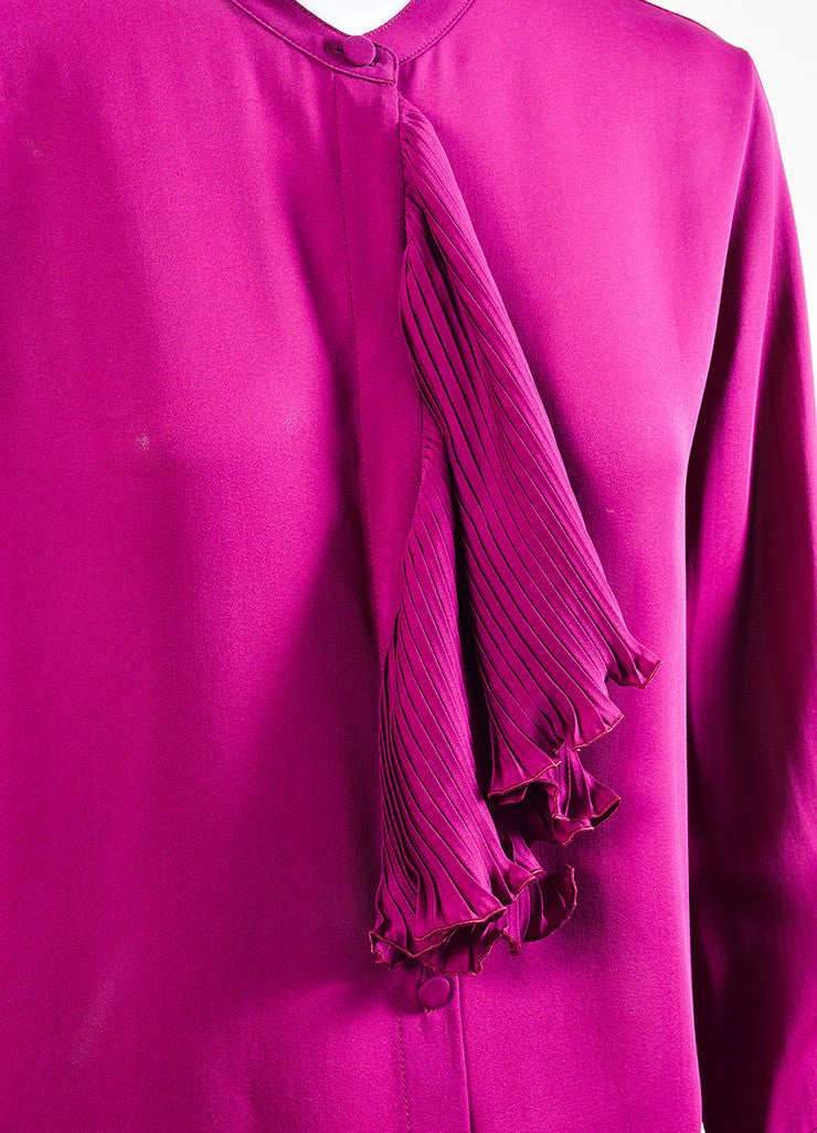 Gucci Plum Purple Silk Ruffle Front Pleat Cuff Long Sleeve Blouse Detail