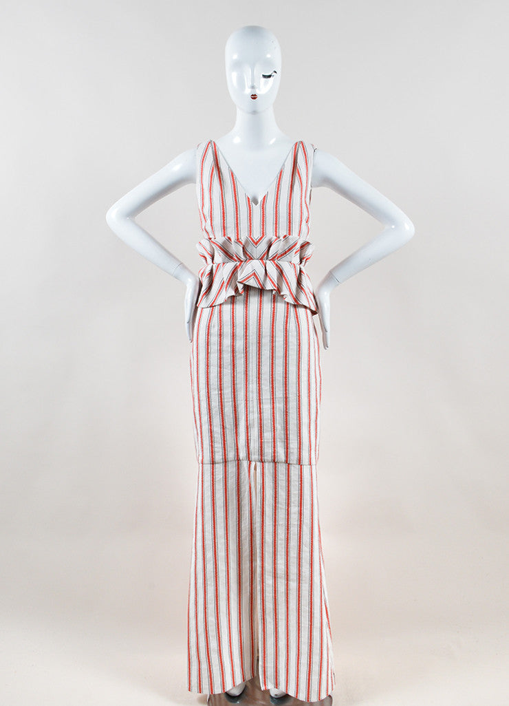 Hellessy White and Red Linen and Cotton Striped Ruffle Slit Maxi Dress Frontview