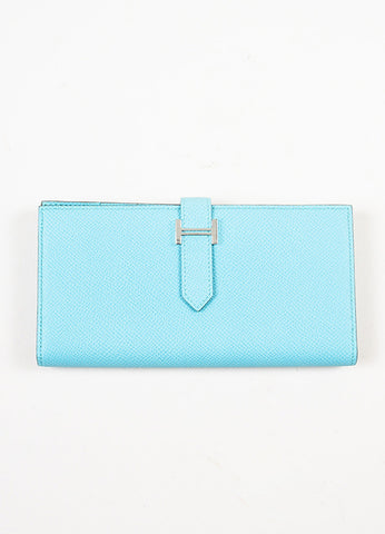 "Aqua Blue Hermes Epsom Leather ""Bearn"" Wallet Frontview"