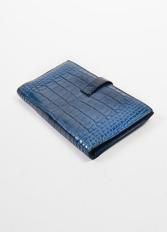 "Hermes ""Bearn"" Blue Genuine Alligator Leather Long Flat Wallet Sideview"
