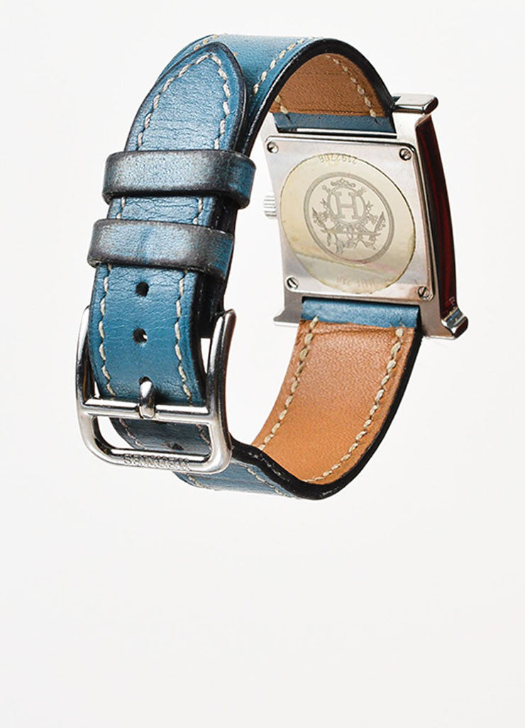 "Hermes Blue Jean Stainless Steel Leather Strap ""Heure H PM"" Wrist Watch Backview"
