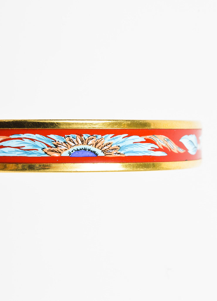 "Hermes Gold Plated Red and Blue Enamel Feather Print ""Brazil"" Bangle Bracelet Detail"