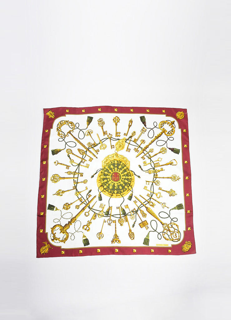 "Maroon, White, and Gold Hermes ""Les Cles"" Key Print Silk Square Scarf Frontview 2"