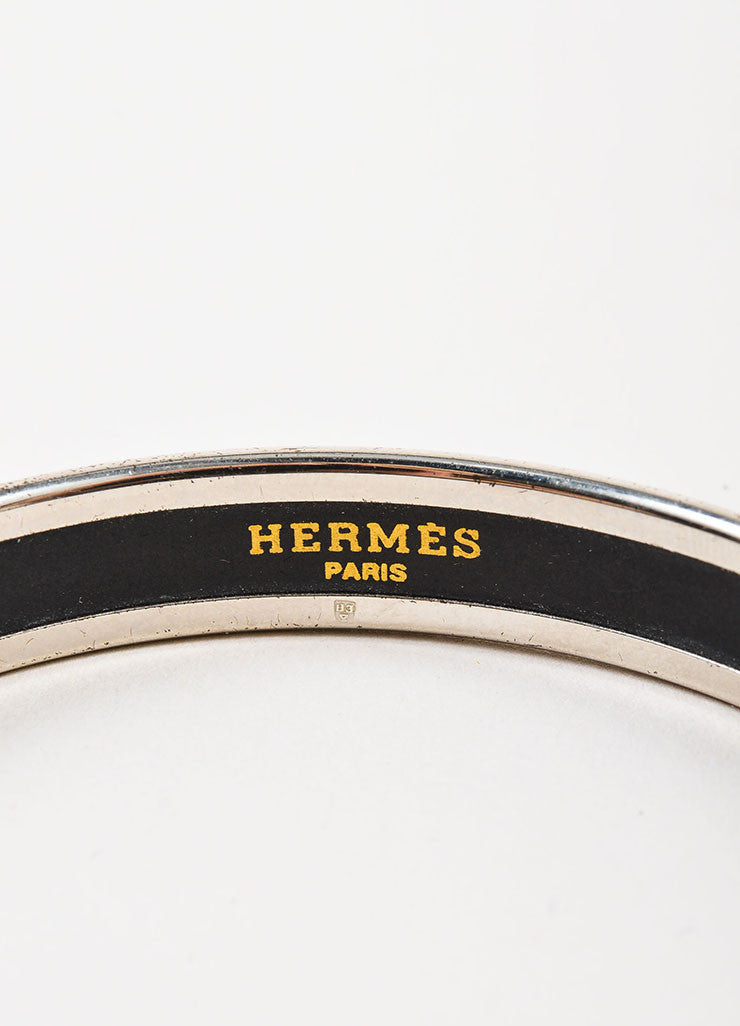 Silver Toned, Pink, and Grey Hermes Enamel Equestrian Cloud Print Bangle Bracelet Brand