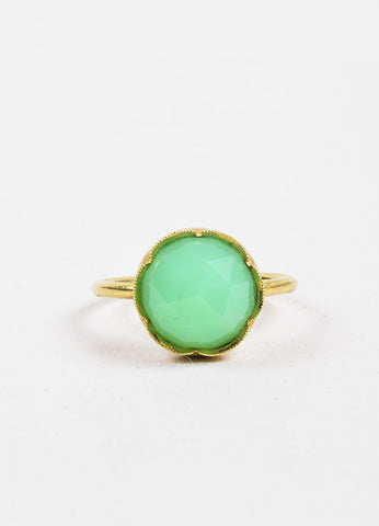 Irene Neuwirth Green Chrysoprase Gemstone and 18k Yellow Gold Ring Frontview