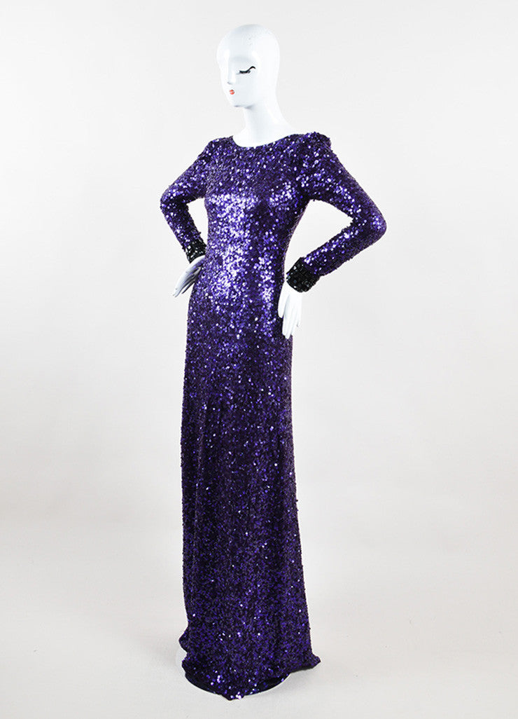 Jenny Packham Purple Sequin Embellished Long Sleeve Gown Sideview