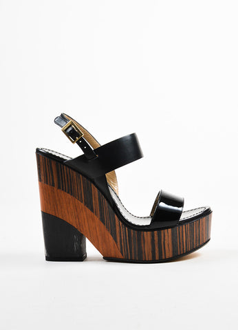 "Black and Brown Jimmy Choo Leather Stack Wedge ""Notion 130"" Sandals Sideview"