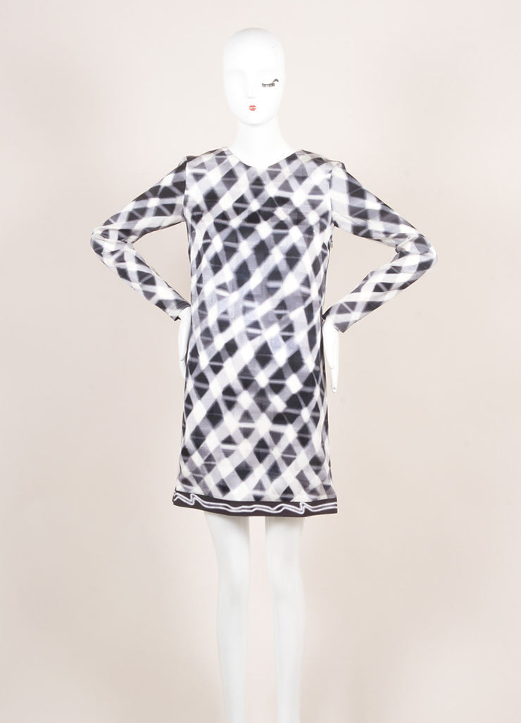 Kenzo New With Tags Grey and White Checkered Print and Jacquard Long Sleeve Silk Shift Dress Frontview