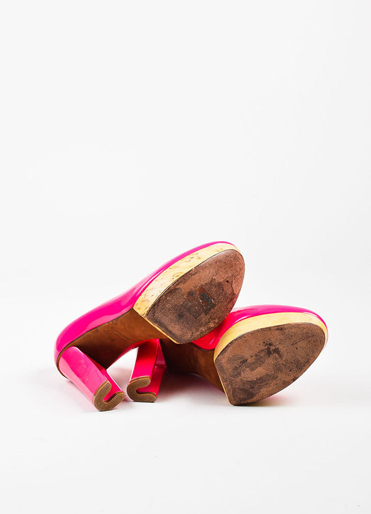 Hot Pink Lanvin Leather & Wood Platform Hollowed Heel Pumps Sole