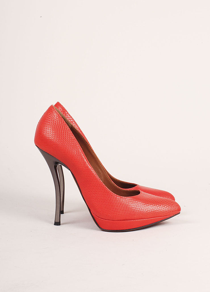 Lanvin Red and Gunmetal Pointed Toe Comma Heel Textured Leather Pumps Sideview