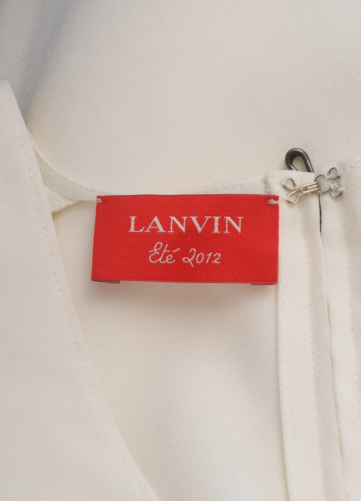 Lanvin White Sleeveless Padded Shoulder Slit Midi Column Dress Brand