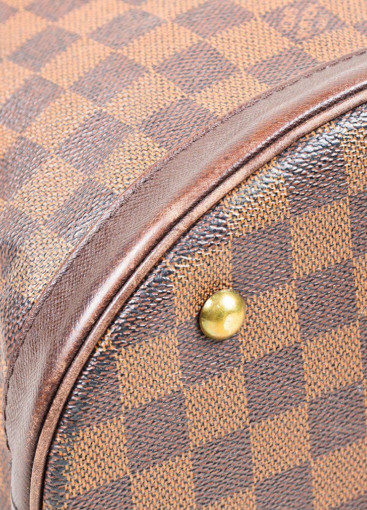 Louis Vuitton Brown Canvas Checkered Bucket Bag Detail