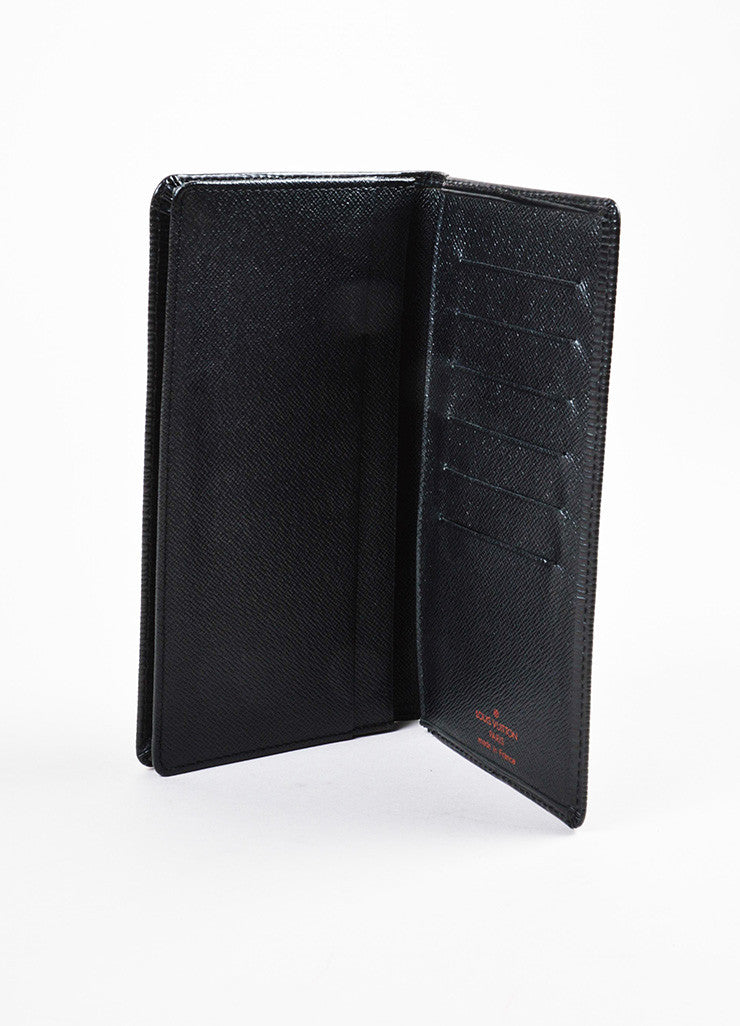 Louis Vuitton Black Epi Leather Checkbook Holder Wallet Interior