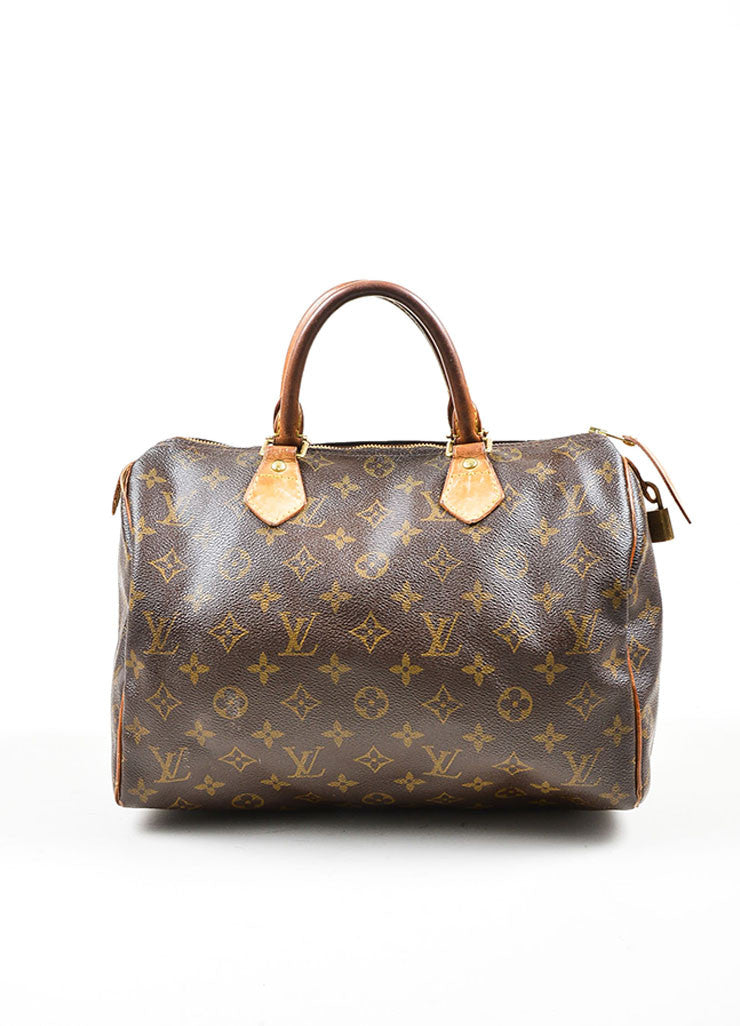Brown Louis Vuitton Monogram Canvas Speedy 30cm Duffel Bag Frontview