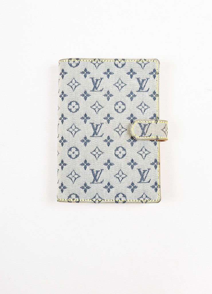 "Louis Vuitton Grey and Blue Canvas Monogram ""Mini Lin Small Agenda"" Cover Frontview"