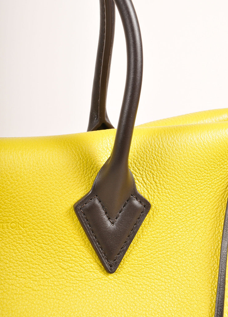 "Louis Vuitton NWT $4600 Yellow ""Pistache"" Tuffetage Parnasse Leather ""W"" PM Bag Handle Detail"