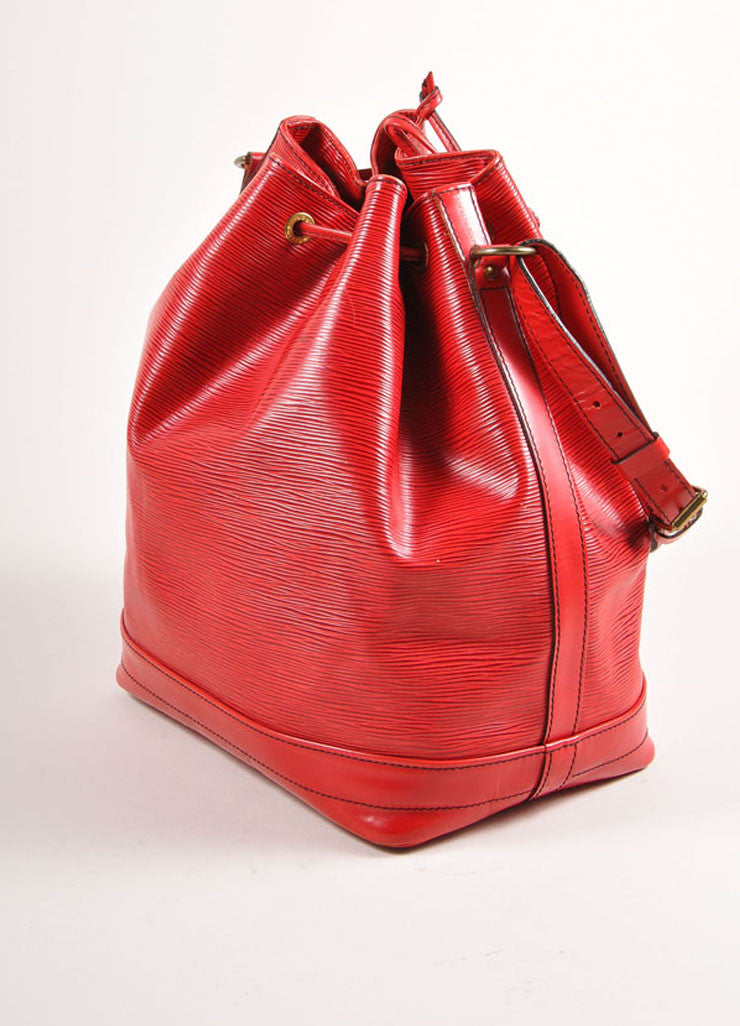 "Louis Vuitton Red Epi Leather ""Noe"" Bucket Bag Sideview"