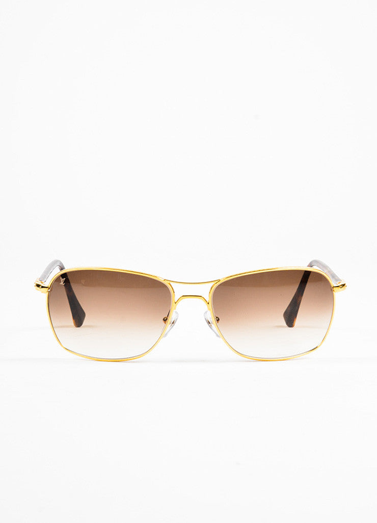 "Men's Louis Vuitton Tortoise and Gold Toned ""Conspiration Pilote"" Aviator Sunglasses Frontview"