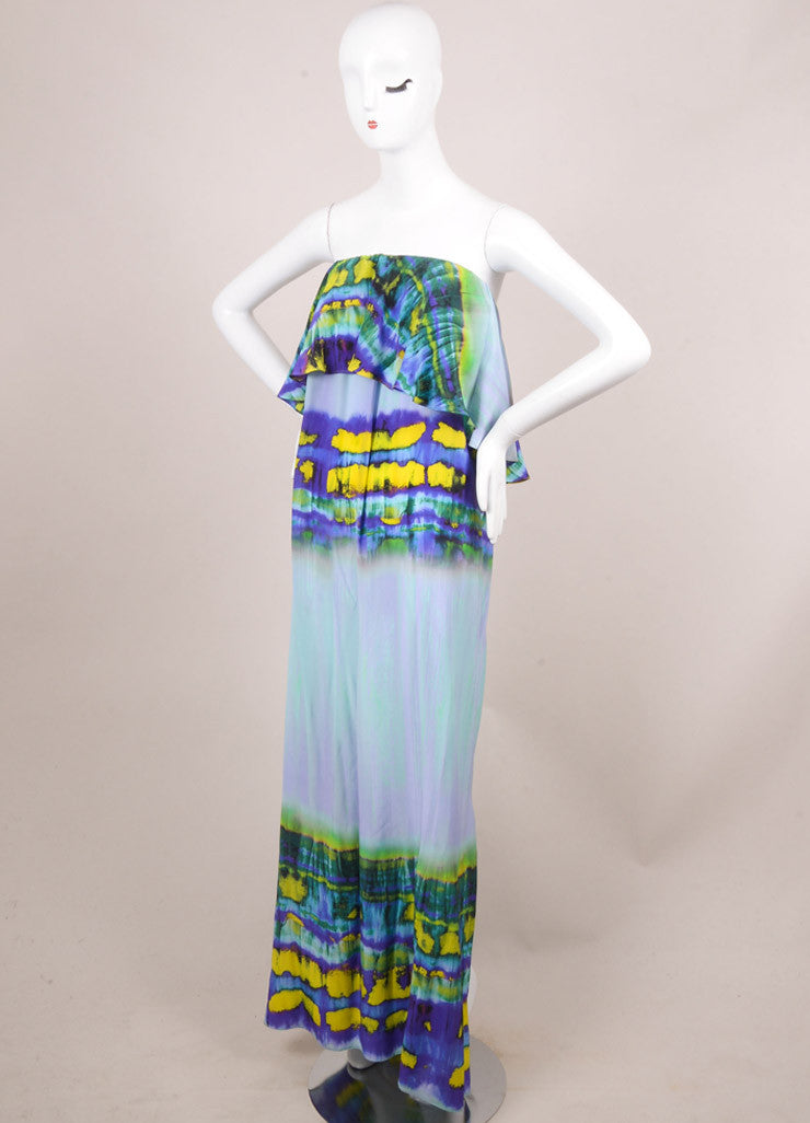 MSGM New With Tags Purple and Yellow Silk Tie Dye Print Ruffle Maxi Dress Sideview