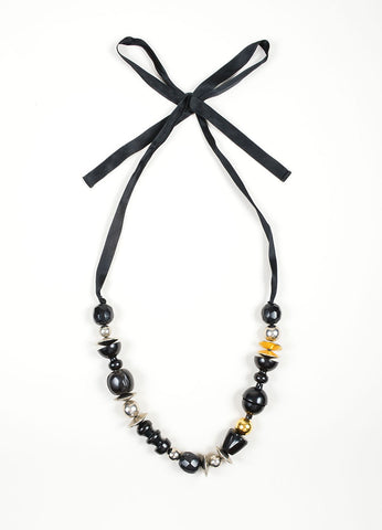 Marni Black, Silver, and Gold Toned Metal and Wood Chunky Beaded Ribbon Necklace Frontview