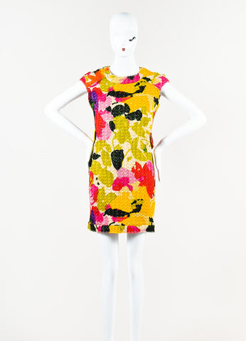 Marni Multicolor Woven Metallic Knit Graphic Print Sleeveless Sheath Dress Frontview