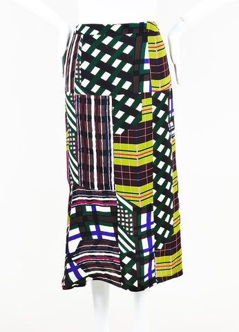 Marni Green Multicolor Mixed Plaid Checkered Print Midi Skirt Front