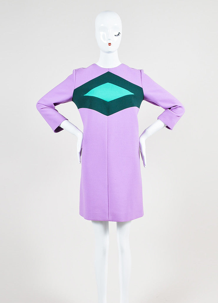 Purple and Two-Tone Green Marni Wool Mini Mod Shift Dress Frontview