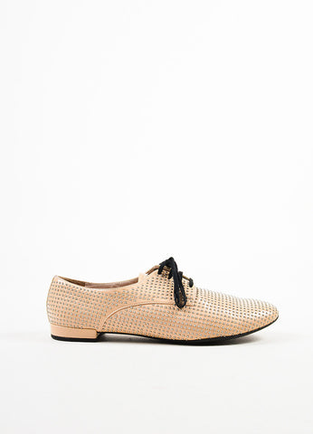 Beige and Silver Miu Miu Studded Leather Oxfords Side