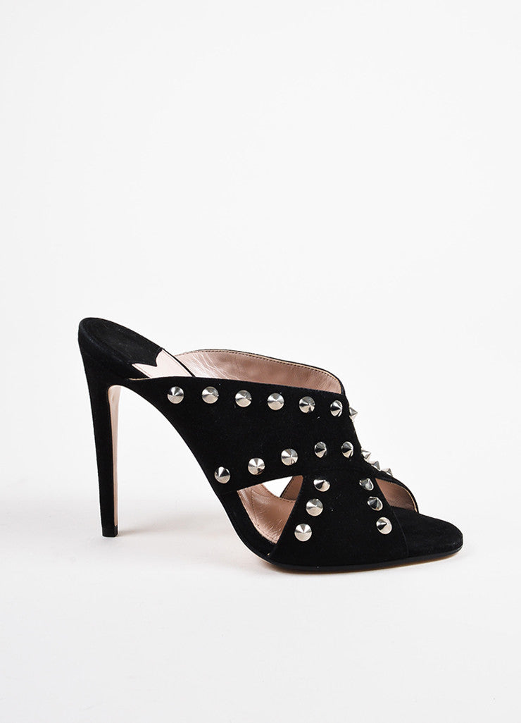 Miu Miu Black and Silver Toned Suede Studded Peep Toe Heeled Mules Sideview