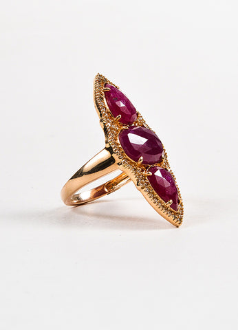 18K Rose Gold Ruby Diamond Pear Oval Pave Cocktail Ring Sideview