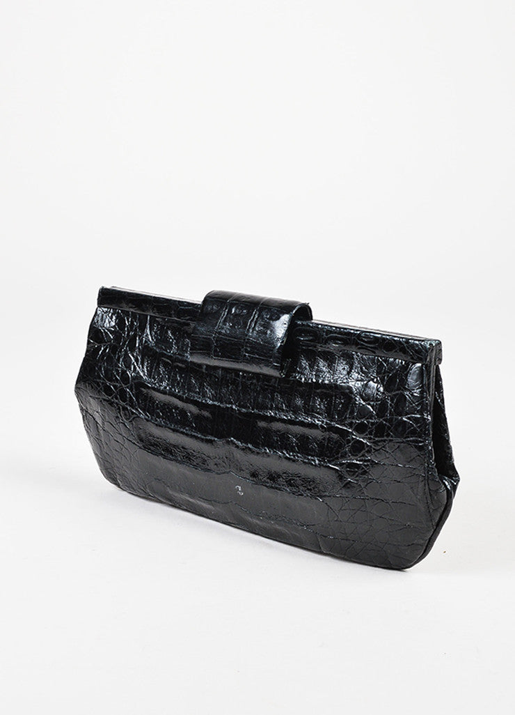 Nancy Gonzalez Black Crocodile Leather Rectangular Clutch Bag Back