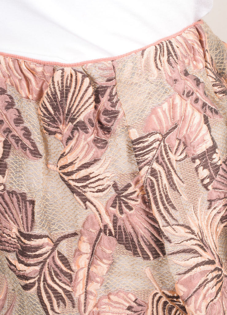 Odeeh New With Tags Peach and Taupe Cotton and Silk Leaf Jacquard Short Bell Skirt Detail