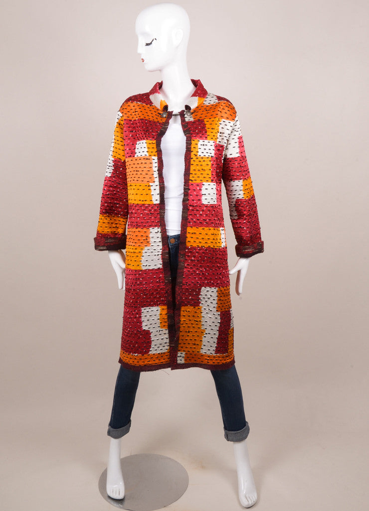 Oscar de la Renta Red Wool and Silk Tweed Reversible Coat Frontview 4