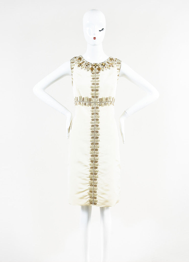 Oscar de la Renta Cream Silk Rhinestone Bead Embellished Sleeveless Sheath Dress Frontview