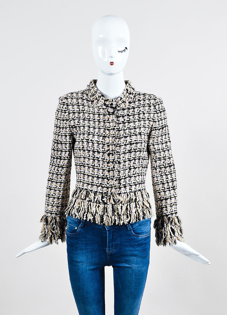 Multicolor Oscar de la Renta Tweed Fringe Trim Jacket Frontview 2
