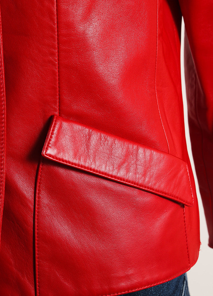Oscar de la Renta Red Leather Button Up Crop Sleeve Jacket Detail