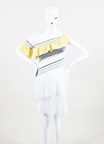"Peter Pilotto Multicolor Lace Tiered Ruffle ""Octave"" Short Sleeve Dress Frontview"