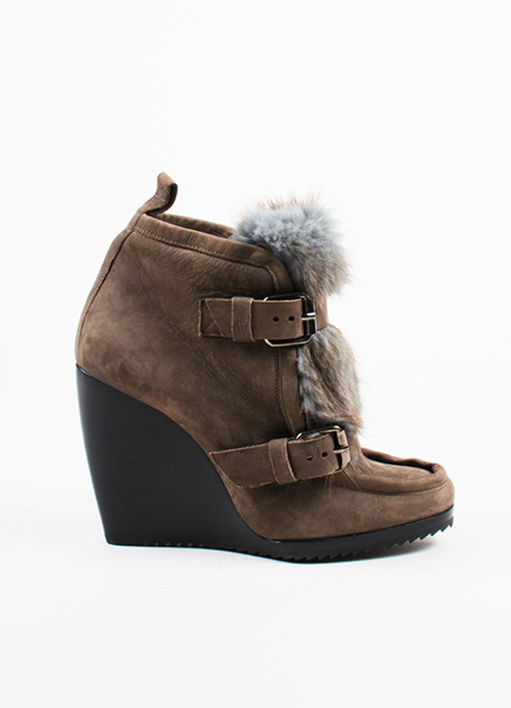 Pierre Hardy Brown Suede Removable Fur Trim Wedge Booties Sideview