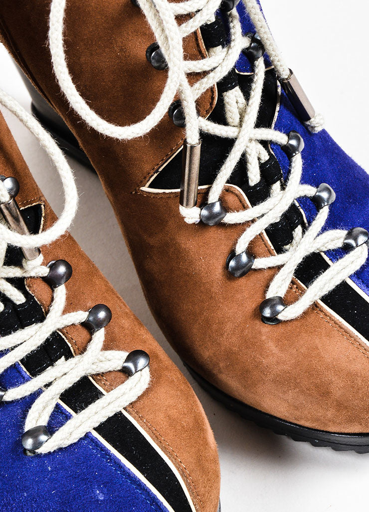 Pierre Hardy Blue and Brown Suede Lace Up Booties Detail