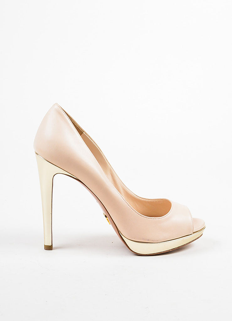 Prada Beige Nude and Pale Gold Toned Metallic Leather Peep Toe Platform Pumps Sideview