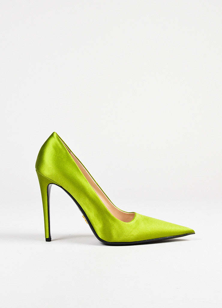 Prada Green Satin Pointed Toe Pumps Sideview