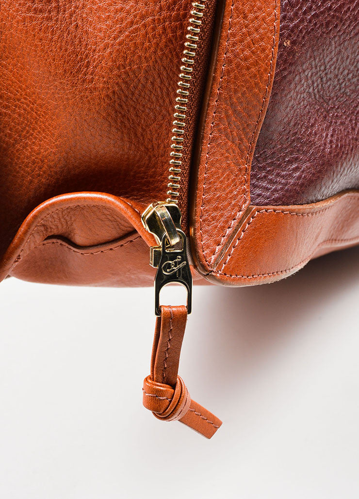 "Maroon, Brown, and Black Proenza Schouler Pebbled Leather ""PS11"" Tote Bag Detail"