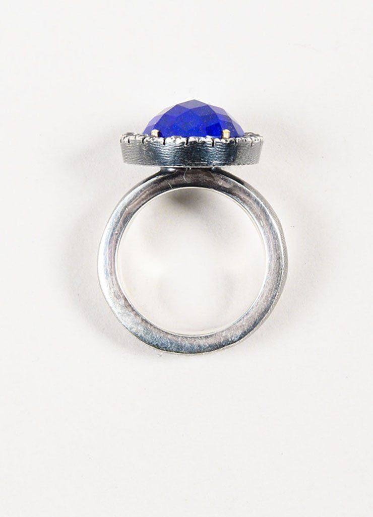 Rene Escobar Sterling Silver, Lapis, and White Sapphire Round Cocktail Ring Topview