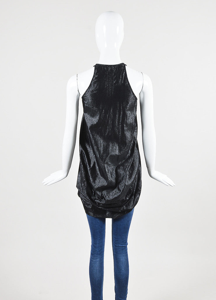 Rick Owens Black Metallic Plunging V-Neck Sleeveless Top Backview