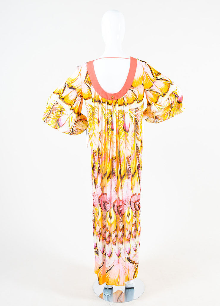 Roberto Cavalli Pink and Multicolor Feather Print Caftan Dress Backview