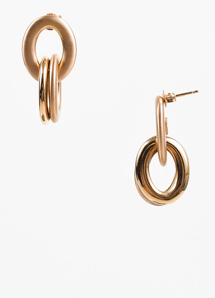 Roberto Coin 18K Rose Gold Matte Glossy Contrast Link Loop Drop Earrings Sideview