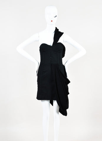 Rodarte x Opening Ceremony Black Cotton and Linen Draped Bustier Dress Frontview