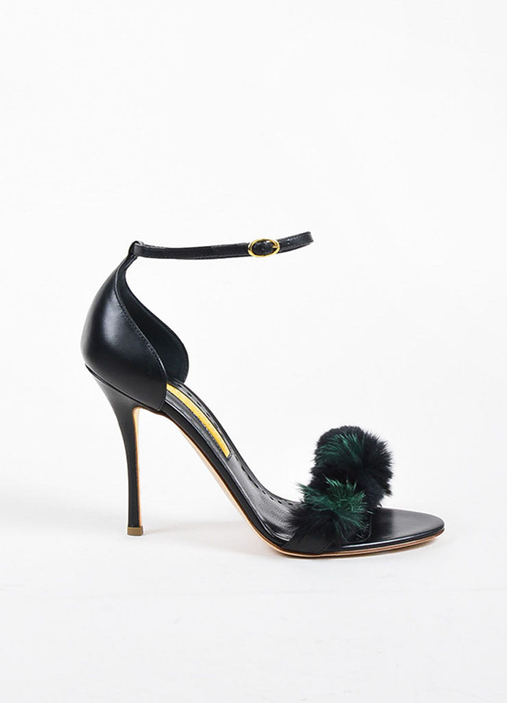 "Black and Green Rupert Sanderson Leather and Fur ""Mikie"" Sandals Sideview"