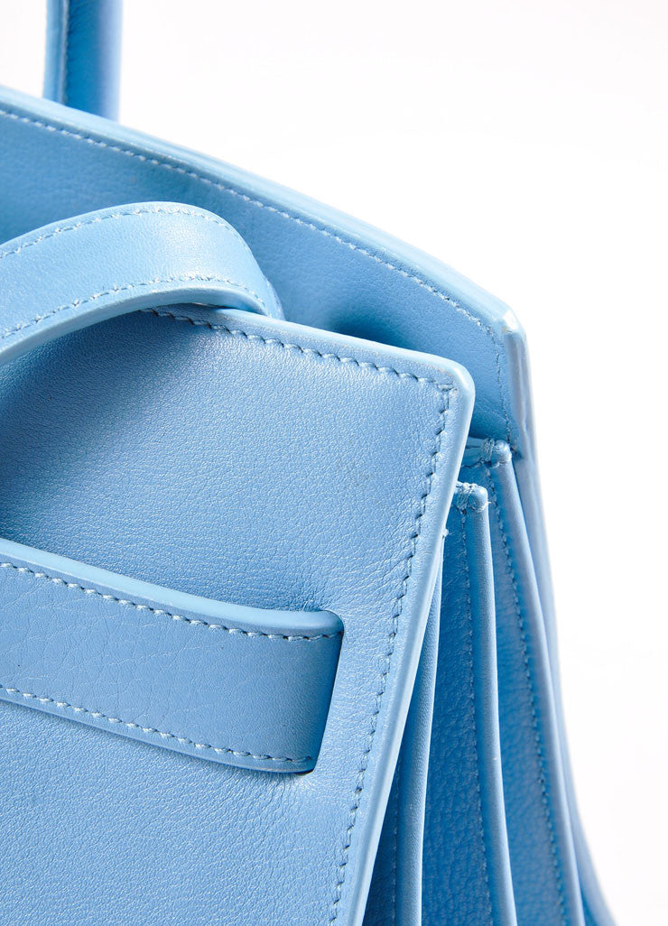 "Saint Laurent Light Blue Leather ""Small Sac du Jour"" Satchel Handbag Detail 4"
